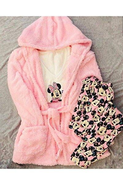 Kadın Pudra Peluş Sabahlıklı Penye Pijama Seti 3