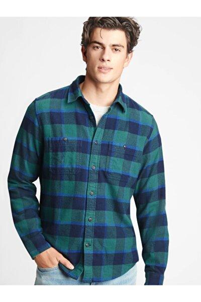 Erkek Yeşil Ekose Untucked Gömlek