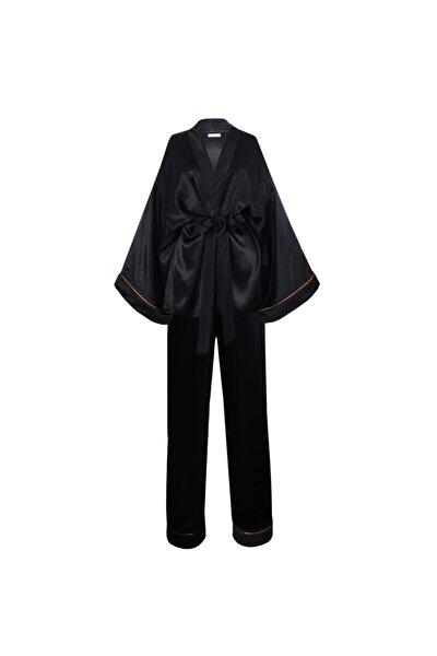 Kadın Siyah İpek Saten Pijama Takım