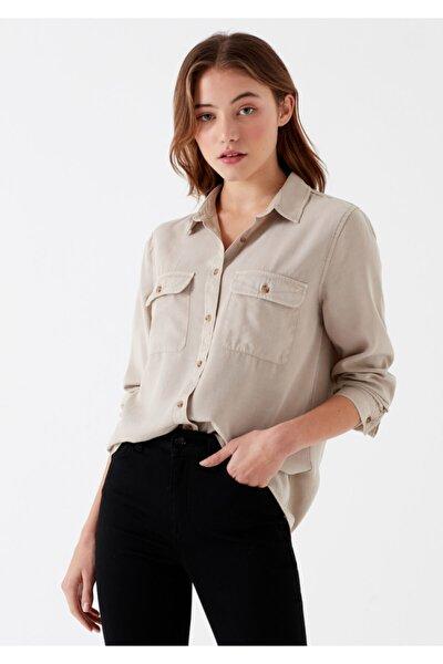Kadın Cepli Bej Lyocell Gömlek