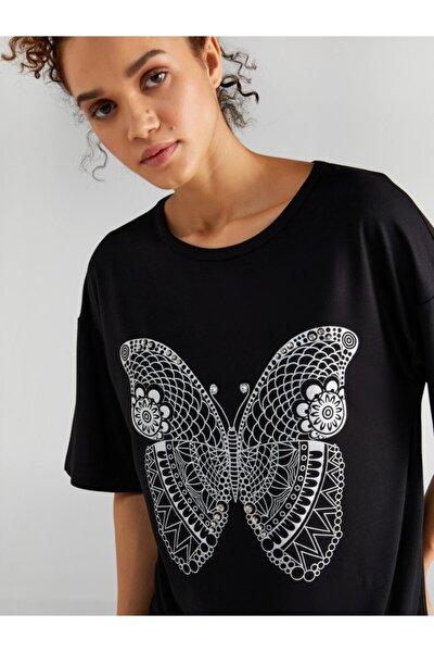 Kadın Siyah Kelebek Baskılı Taş Işlemeli T-shirt 61634