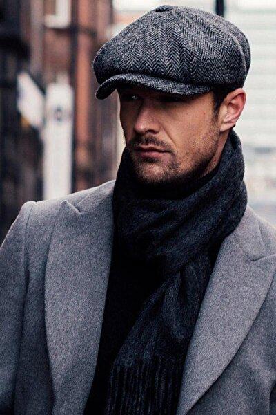 Erkek Gri David Beckham Model Peaky Blinders Kasket Şapka