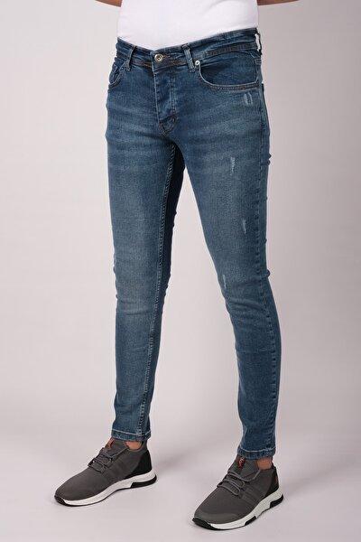 Erkek Slim Fit Dar Kesim Kot Pantolon Mavi