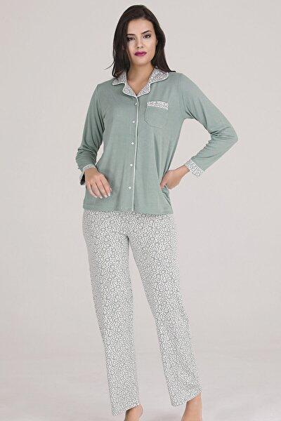 Kadın Yeşil Önden Açık Cepli Örme Pijama Takımı