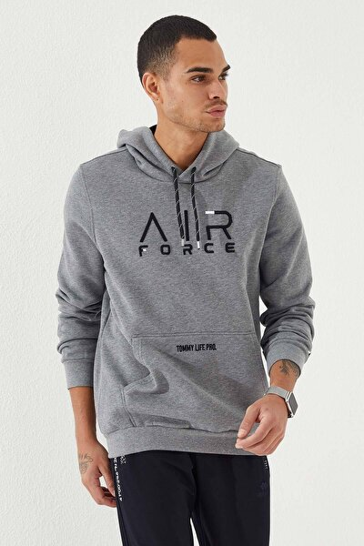 Erkek Gri Kapüşonlu Air Force Nakışlı  Sweatshirt