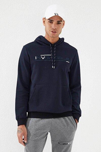 Erkek Lacivert Invıncıble Nakışlı Kanguru Cepli Sweatshirt