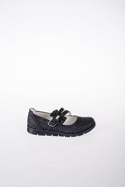 Kız Çocuk Siyah Termo Taban Çatallı Fiyonklu Sarmaşık Ayakkabı