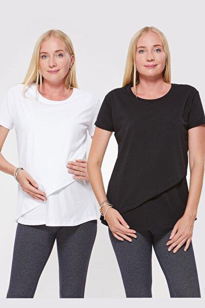 Kadın Beyaz Emzirme Tshirt 2 Li Paket