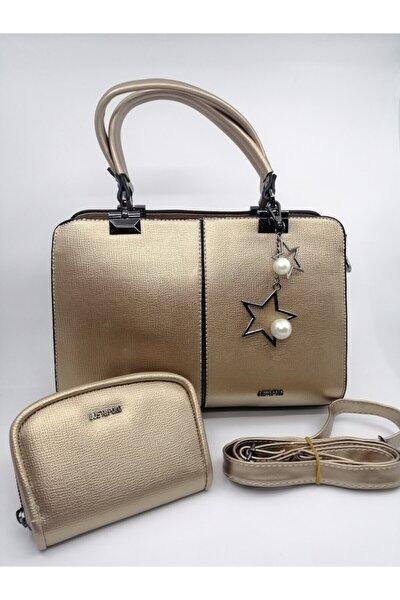 Kadın Gold Çanta Ve Cüzdan Kombini