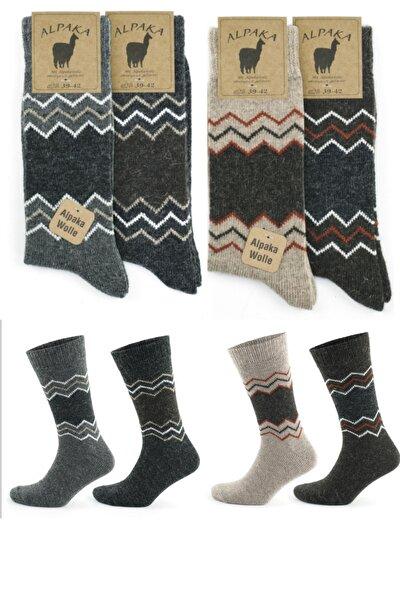 Kışlık Alpaka Doğal Yün Termal Zigzag Desenli Çorap
