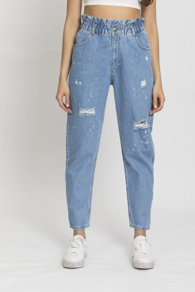 Kadın Yırtık Mavi Beli Lastik Yüsek Bel Balon Jean