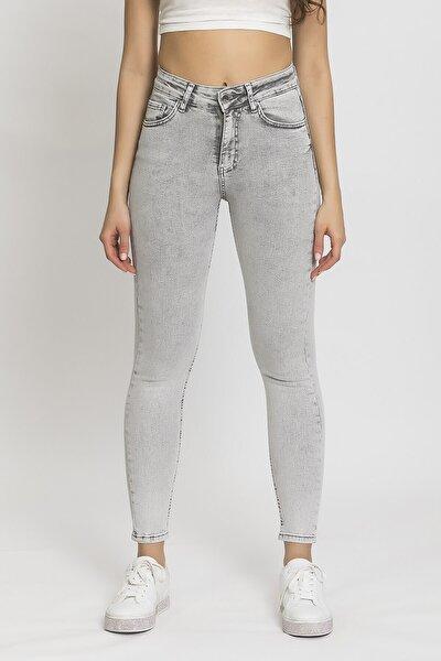 Kadın Gri 5 Yüksek Bel Slim Fit Jean