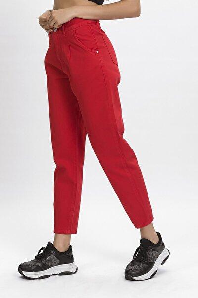 Kadın Kırmızı Renk Önü Pileli Yüksek Bel Jean Pantolon