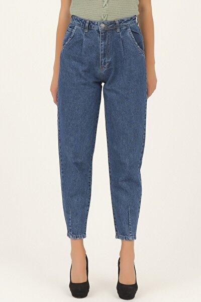 Kadın Önü Pileli Mavi Renk 2 Yüksek Bel Balon Jean