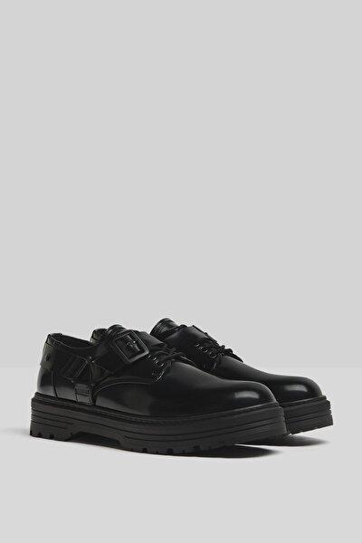 Erkek Siyah Tokalı Loafer Ayakkabı