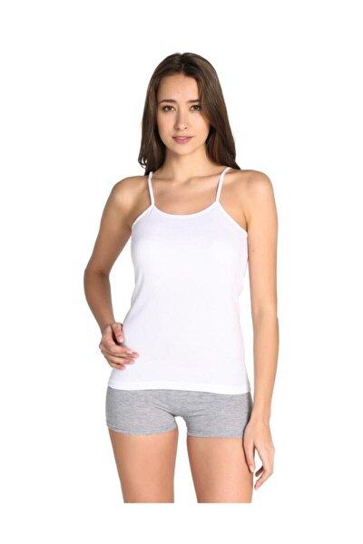 Kadın Beyaz 3'lü Paket  İp Askılı Atlet ELF568T0135CCM3 Beyaz 3XL