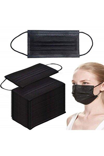 50 Adet Siyah Tek Kullanımlık Lastikli Telli 3 Katlı Cerrahi Koruyucu Yüz Maskesi-siyah