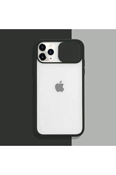 Apple Iphone 11 Pro 5.8'' Kamera Lens Korumalı Sürgülü Lüx Siyah Kılıf