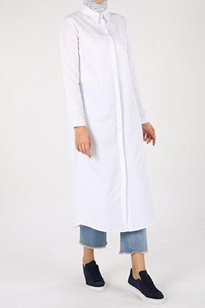 Kadın Beyaz Pamuklu Uzun Gömlek