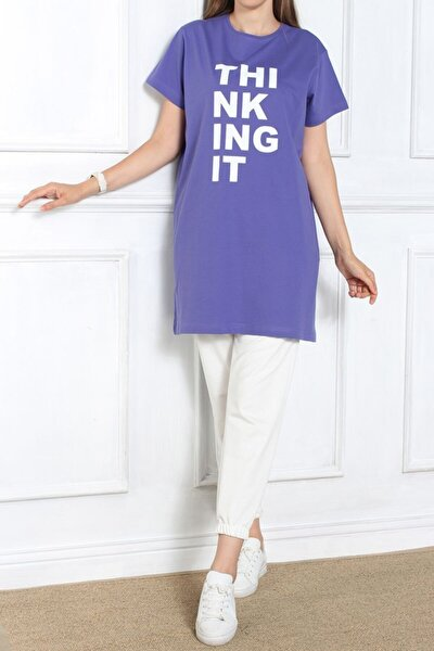 Kadın Mor Kısa Kol Baskılı T-shirt
