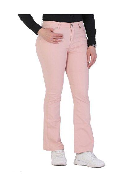 Kadın Pembe Kanvas Yüksek Bel İspanyol Paça Pantolon Rg1221p