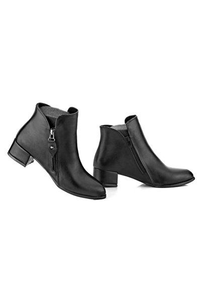 Kadın Siyah Kısa Topuk Bot