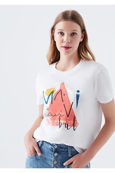Kadın Üçgen İstanbul Baskılı Beyaz T-Shirt