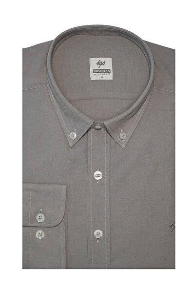 Erkek Gri Regular Fit Klasik Gömlek