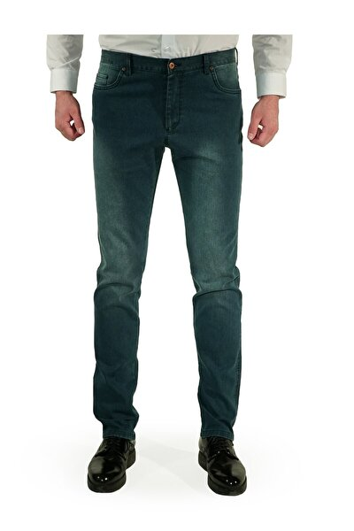 Erkek Mavi Slim Fit Pantolon