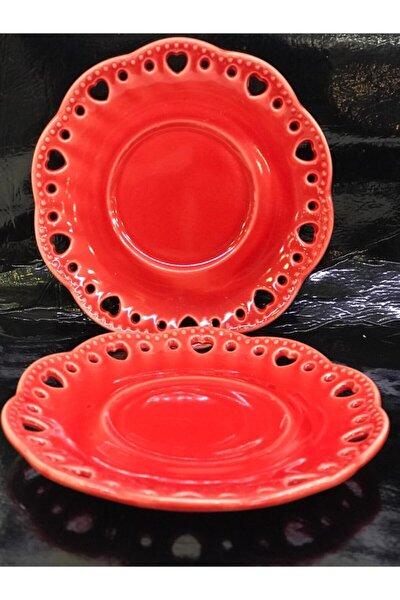 Porselen 6lı Kırmızı Çay Tabağı