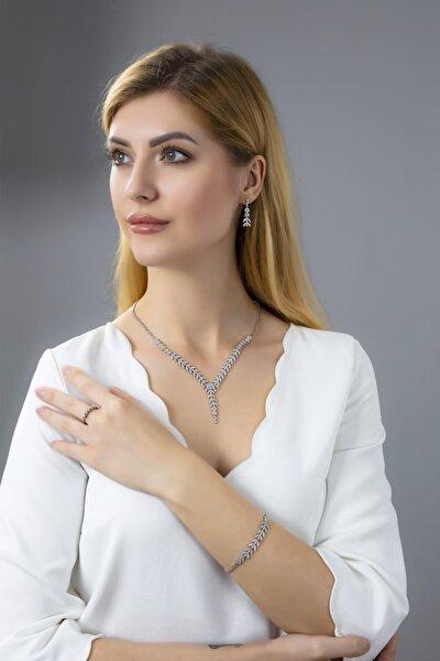 Kadın 925 Ayar Gümüş Salkım Pırlanta Montür 5 Taş Su Yolu Düğün Seti