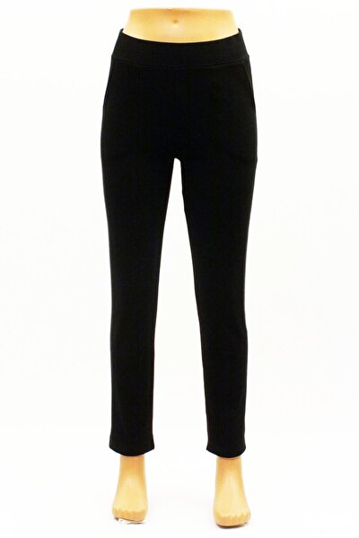Kadın Siyah Triko Bilek Te Kalem Pantolon Triko Evde Rahat Giymeli Cepli Kalem Pantolon