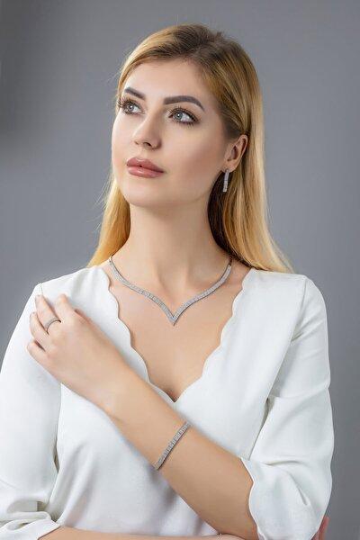 Kadın 925 Ayar Gümüş 3 Sıra Su Yolu Düğün Set