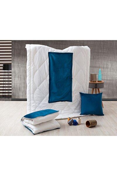 Mavi Tek Kişilik Microfiber Kumaşlı Çok Amaçlı Sürpriz Yorgan (150x200) Yastık Sürpriz Yorgan