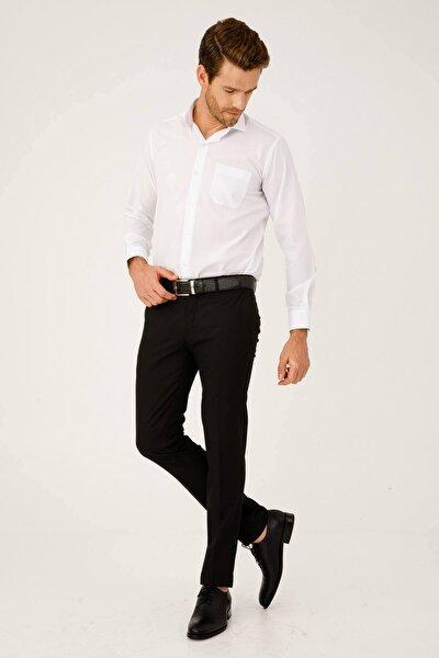 Erkek Siyah Slım Fıt Dar Kalıp Std Pantolon