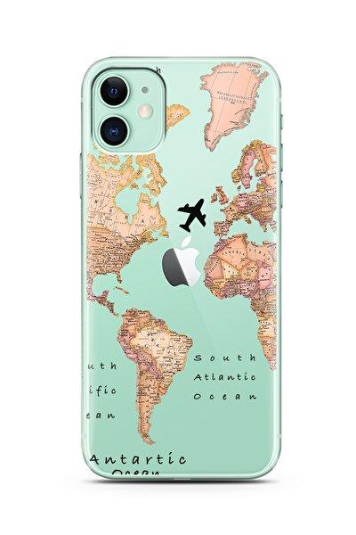 Transparan Harita Tasarım Süper Şeffaf Silikon Telefon Kılıfı Iphone 11