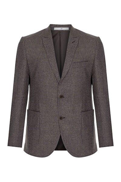 Erkek Bej Slım Fıt Dar Kalıp Ince Kırlangıç Ceket
