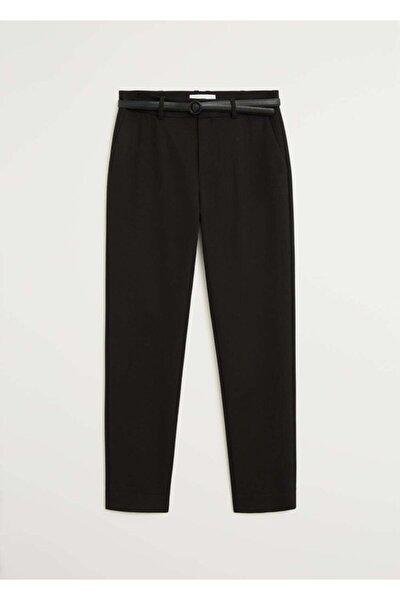 Kadın Siyah Kemerli Kumaş Pantolon 77030108