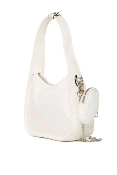 Beyaz Çift Askılı Baget Çanta