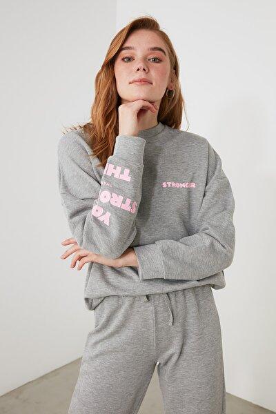 Gri Baskılı Örme Sweatshirt TWOAW21SW1628