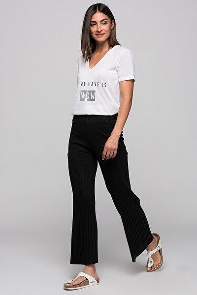 Kadın Siyah Kalın Fitilli Beli Lastikli Uzun Pantolon
