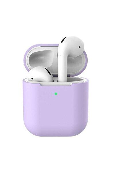 Lila Airpods 2. Nesil Pastel Renkli Silikon Koruma Kopçalı Airpods Kılıf