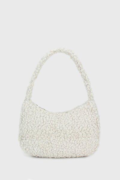 Kadın Beyaz Suni Kürklü Baguette Çanta 197