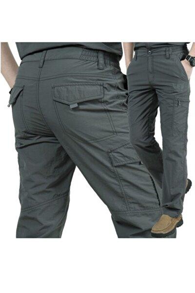 Erkek Gri Model Yaz Tarzı Yüksek Kaliteli Hava Alan Kumaş  Rahat Kullanımlı Taktikal Pantolon