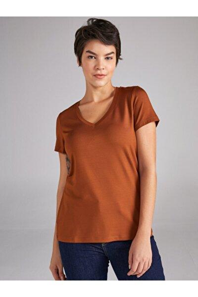 Kadın V Yaka Kısa Kol T-shirt 61027
