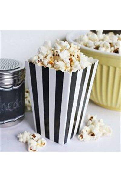Popcorn Siyah Beyaz Çizgili Mısır Kutusu 10 Adet