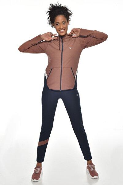 Kadın Kahverengi Kapüşonlu Eşofman Takım  Gw-1525