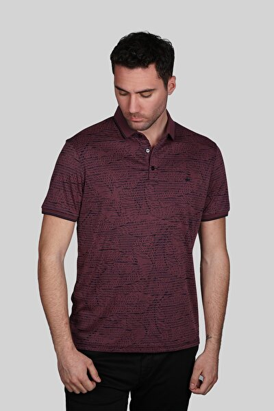 Erkek Bordo Modern Fit Polo Yaka T-shirt