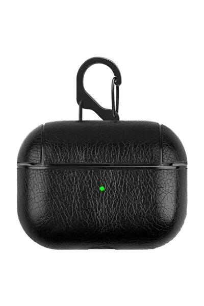 Siyah Apple Kulaklık Koruma Deri Airpods Pro Kılıf