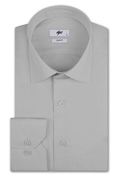 Erkek Açık Gri Slim Fit Klasik Gömlek